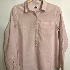 Old Navy Pink and White Cotton Blouse Medium